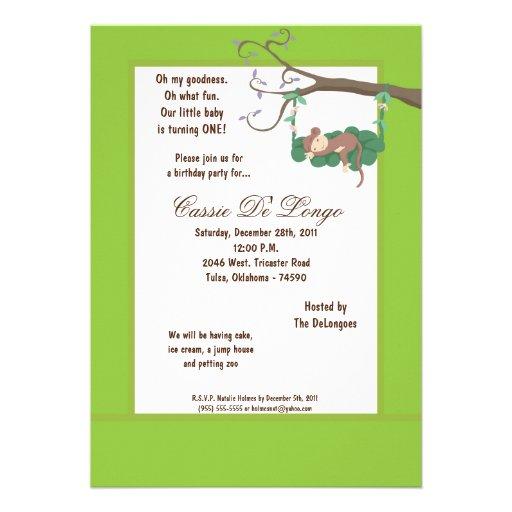 la fiesta de cumpleaños del mono verde 5x7 invita comunicados personales