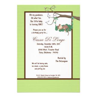 la fiesta de cumpleaños del mono verde 5x7 invita comunicado personal