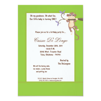 la fiesta de cumpleaños del mono verde 5x7 invita invitación 12,7 x 17,8 cm