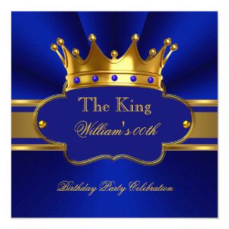 La fiesta de cumpleaños del oro del rey azul real invitación 13,3 cm x 13,3cm