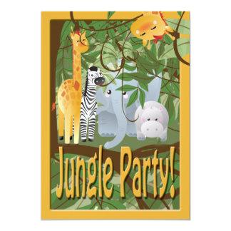 La fiesta de cumpleaños del safari de los animales invitación 12,7 x 17,8 cm