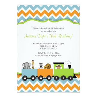 La fiesta de cumpleaños del tren del safari invitación 12,7 x 17,8 cm