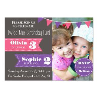 La fiesta de cumpleaños doble invita (chica/el invitación 12,7 x 17,8 cm