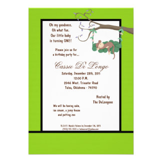 la fiesta de cumpleaños eléctrica del mono verde 5 invitación