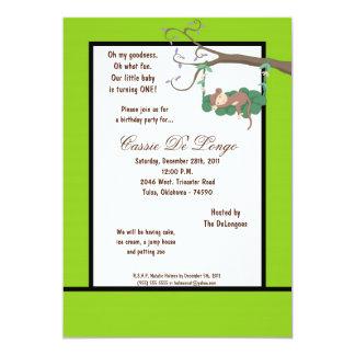 la fiesta de cumpleaños eléctrica del mono verde invitación 12,7 x 17,8 cm