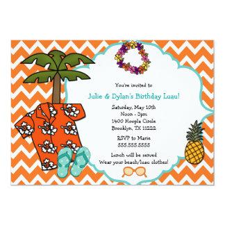 La fiesta de cumpleaños hawaiana de Luau invita a Invitación 12,7 X 17,8 Cm