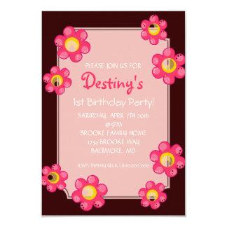 La fiesta de cumpleaños invita a la flor linda invitación 8,9 x 12,7 cm
