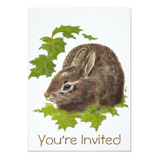 La fiesta de cumpleaños linda del conejo de invitación 12,7 x 17,8 cm