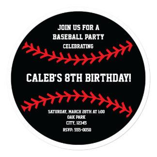 La fiesta de cumpleaños negra del béisbol se invitación 13,3 cm x 13,3cm