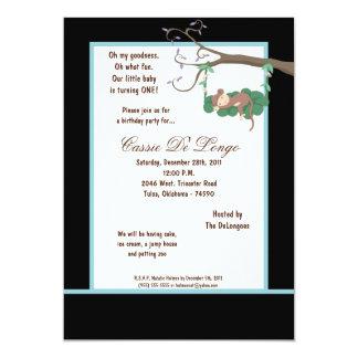 la fiesta de cumpleaños negra del mono 5x7 invita invitación 12,7 x 17,8 cm