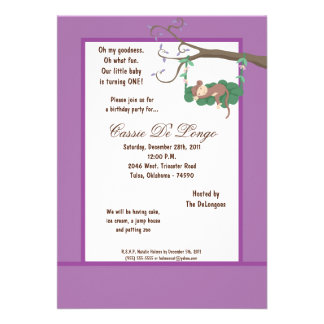 la fiesta de cumpleaños púrpura del mono 5x7 invit invitaciones personalizada