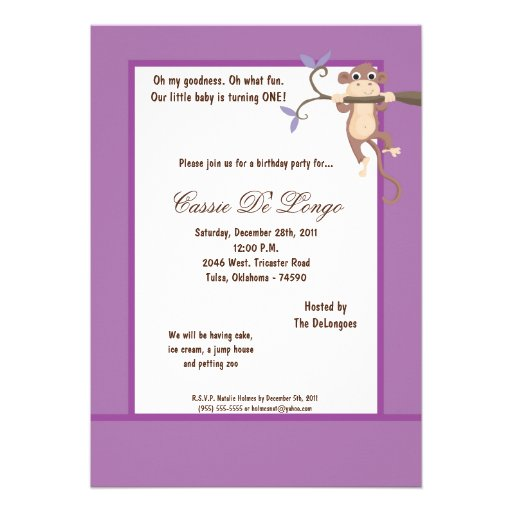 la fiesta de cumpleaños púrpura del mono 5x7 invit invitacion personalizada