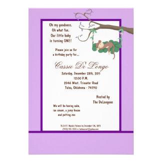 la fiesta de cumpleaños púrpura del mono 5x7 invit invitación personalizada