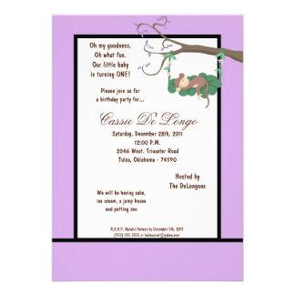 la fiesta de cumpleaños púrpura del mono 5x7 invit invitacion personal