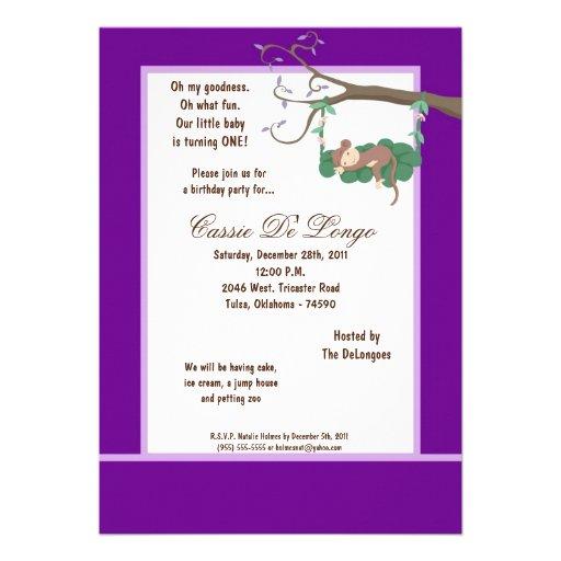 la fiesta de cumpleaños púrpura del mono 5x7 invit anuncio personalizado
