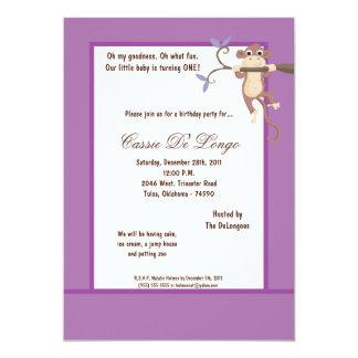 la fiesta de cumpleaños púrpura del mono 5x7 invitacion personalizada