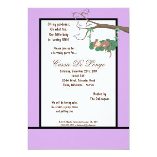 la fiesta de cumpleaños púrpura del mono 5x7 invitacion personal