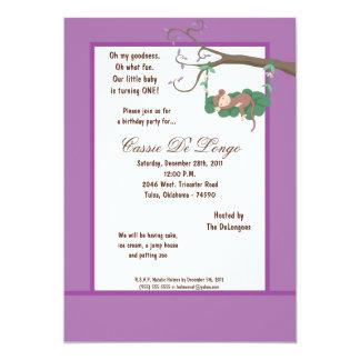 la fiesta de cumpleaños púrpura del mono 5x7 invitación 12,7 x 17,8 cm