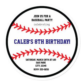 La fiesta de cumpleaños redonda del béisbol se invitación 13,3 cm x 13,3cm
