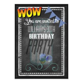La fiesta de cumpleaños retra de la pizarra del invitación 12,7 x 17,8 cm