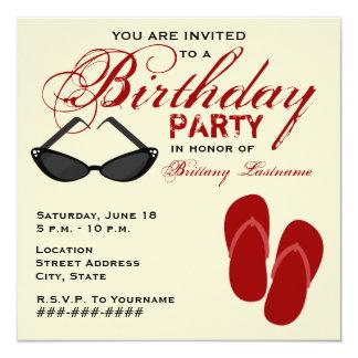 La fiesta de cumpleaños retra invita a las gafas invitación 13,3 cm x 13,3cm