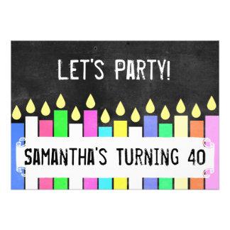 La fiesta de cumpleaños retra mira al trasluz comunicados personalizados