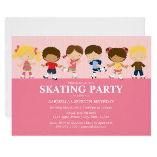 La fiesta de cumpleaños rosada de los patinadores invitación 12,7 x 17,8 cm
