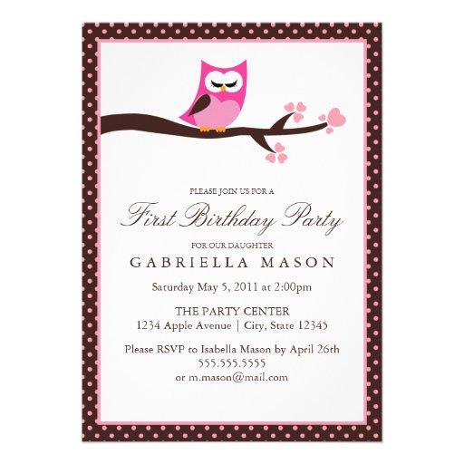 la fiesta de cumpleaños rosada del búho 5x7 invita