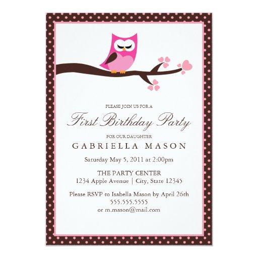 la fiesta de cumpleaños rosada del búho 5x7 invita comunicados