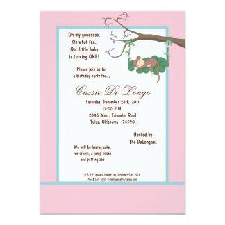 la fiesta de cumpleaños rosada del mono 5x7 invita invitación 12,7 x 17,8 cm
