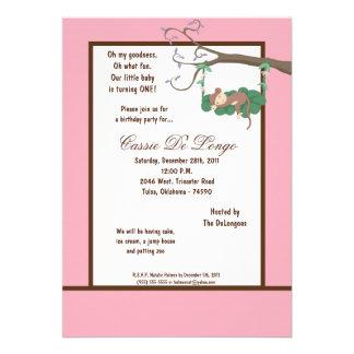 la fiesta de cumpleaños rosada del mono 5x7 invita invitación personalizada