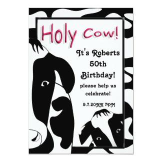 La fiesta de cumpleaños santa divertida de la vaca invitación 12,7 x 17,8 cm