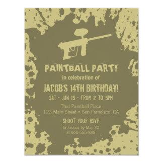 La fiesta de cumpleaños vergonzosa de Paintball de Invitación 10,8 X 13,9 Cm