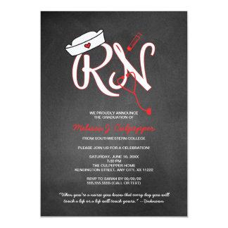 La fiesta de graduación de la enfermera del RN que Invitación 12,7 X 17,8 Cm