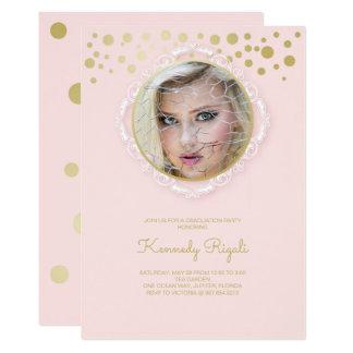 La fiesta de graduación de la foto invita, rosa y invitación 12,7 x 17,8 cm