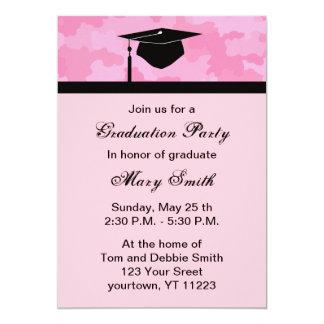 La fiesta de graduación del camuflaje del rosa del invitación 12,7 x 17,8 cm