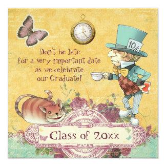 La fiesta de graduación del sombrerero enojado invitación 13,3 cm x 13,3cm
