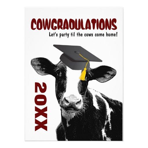 La fiesta de graduación invita - a la vaca diverti invitaciones personales
