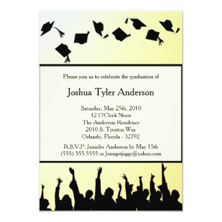La fiesta de graduación negra amarilla de la invitación 12,7 x 17,8 cm