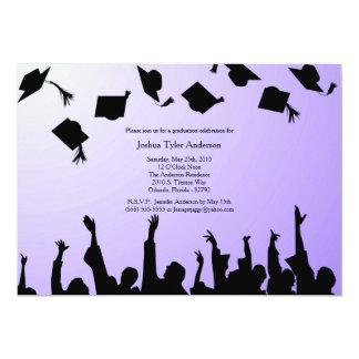 La fiesta de graduación negra púrpura de la invitación 12,7 x 17,8 cm