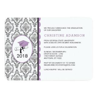 La fiesta de graduación púrpura de la universidad invitación 12,7 x 17,8 cm