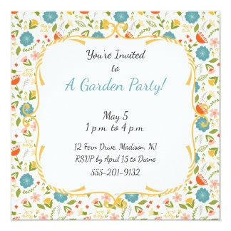 La fiesta de jardín de encargo floreció la invitación 13,3 cm x 13,3cm