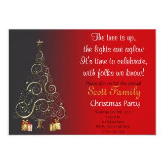 La fiesta de Navidad adaptable invita Invitación 12,7 X 17,8 Cm
