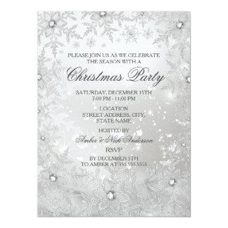 La fiesta de Navidad cristalina de plata del copo Invitación 16,5 X 22,2 Cm