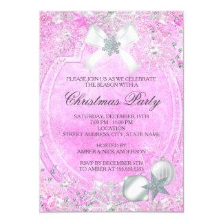 La fiesta de Navidad cristalina rosada del arco Invitación 12,7 X 17,8 Cm
