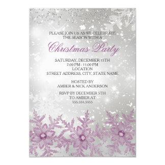 La fiesta de Navidad cristalina rosada del copo de Invitación 12,7 X 17,8 Cm