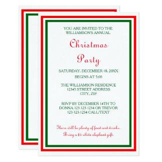 La fiesta de Navidad doble del ajuste -3x5 del Invitación 8,9 X 12,7 Cm