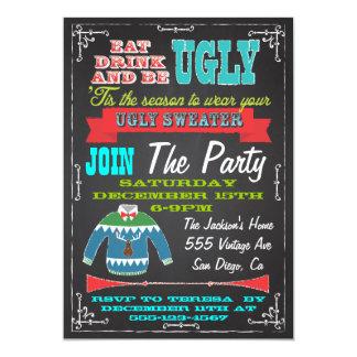 La fiesta de Navidad fea del suéter de la pizarra Invitación 12,7 X 17,8 Cm