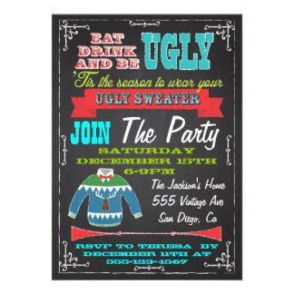 La fiesta de Navidad fea del suéter de la pizarra  Comunicado Personalizado