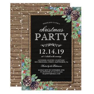 La fiesta de Navidad invita a la baya rústica de Invitación 12,7 X 17,8 Cm